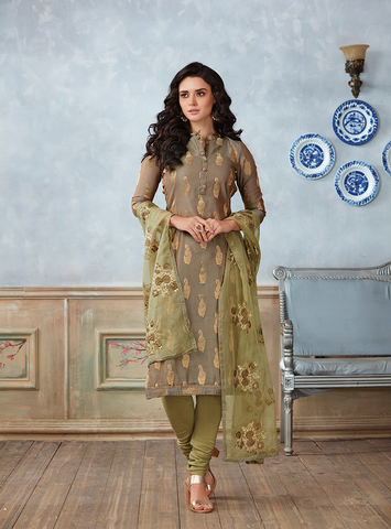 Unstitched Chickoo Colour Salwar Suit