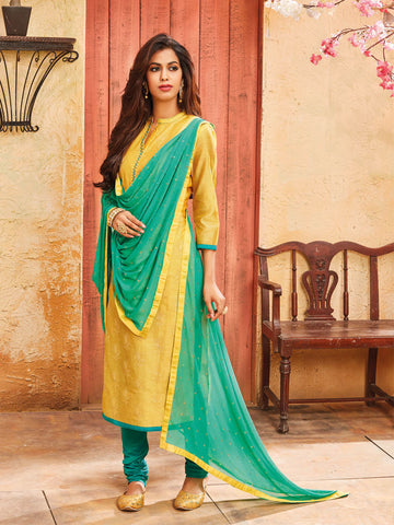 Yellow semi stitched suit material