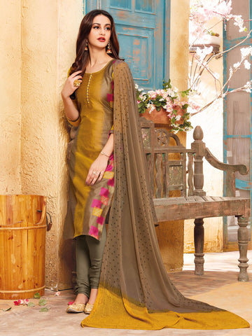 Zari embroidered Gold semi stitched suit material