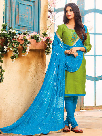 Green Zardoshi unstitched suit material