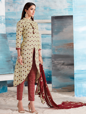Cream and Maroon Printed Suit Material