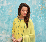 Yellow and Grey Printed Salwar Suit