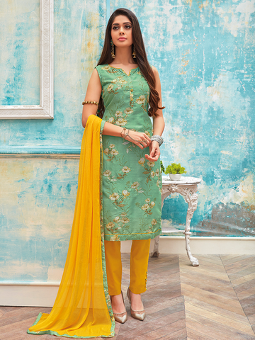 Green and Yellow Floral Print with Zari Work Suit Material