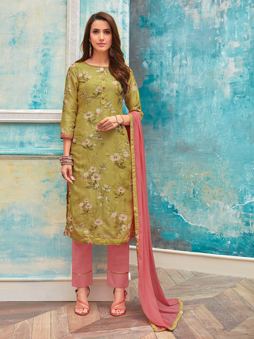 Ready-To-Wear Gold and Pink Floral Print with Zari Work Salwar Suit