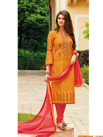Unstitched Gold embroidered Salwar Suit