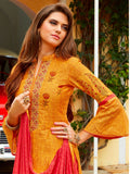 Gold embroidered unstitched dress material