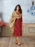 Red and Gold Embroided Salwar Suit