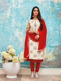 Cream and Red Mirror Work Suit Material