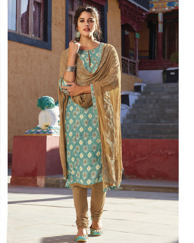 READY-TO-WEAR GREEN RAYON PRINTED SALWAR SUIT