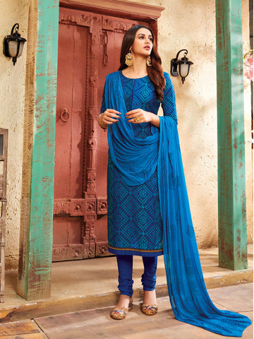 Blue semi stitched suit material