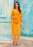 Yellow Printed Neck Work Suit Material