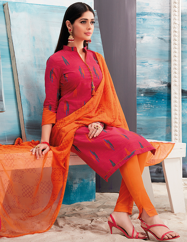 Red and Orange Ikkat Print Suit Material