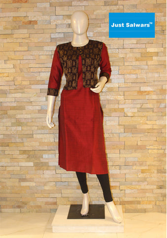 Red and Black Overcoat Kurti