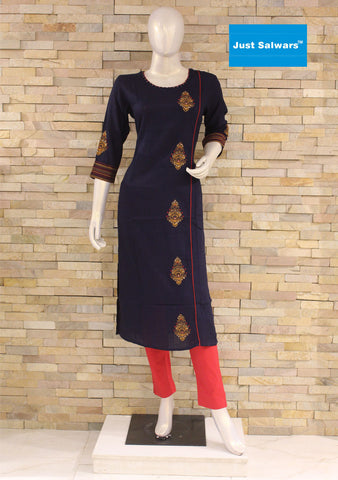 Navy Blue Embroided Kurti