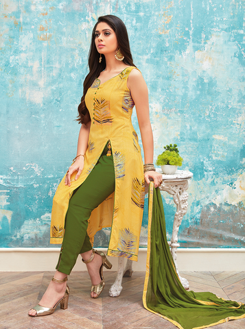 Yellow and Green Foil Print Suit Material