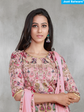 Swarna Pink Unstitched Suit Material