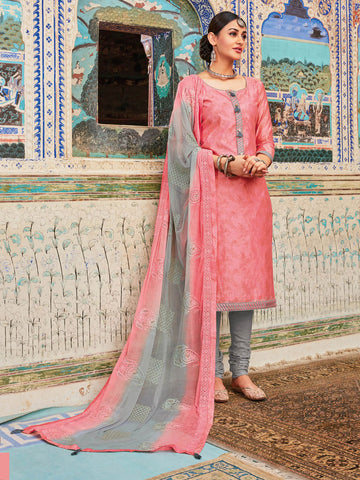 Neck patched Pink semi stitched suit material