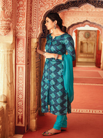 Blue Semi Tusser Salwar Suit