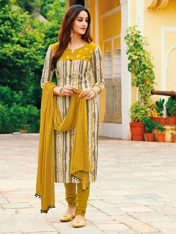 Printed Mustard semi stitched suit