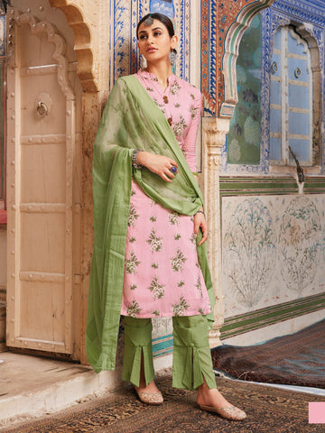 Floral Pink Semi stitched suit material