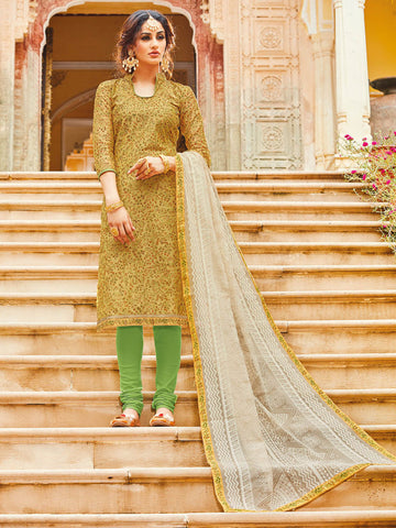 Embroidered Yellow Salwar Suit