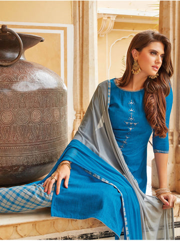 Blue embroidered semi stitched suit