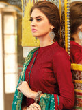 Embroidered Red semi stitched suit