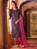 Printed purple semi stitched suit material