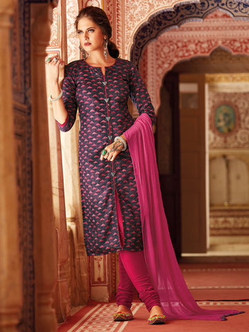 Printed Purple Salwar Suit