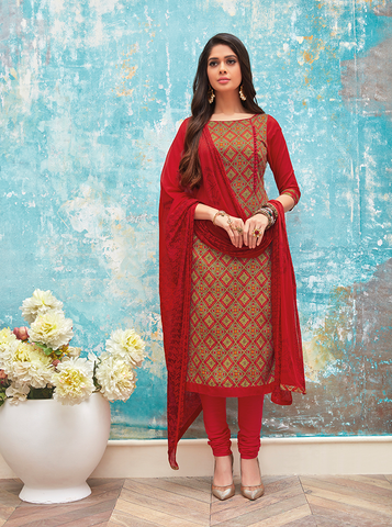 Red Colour Printed Suit Set
