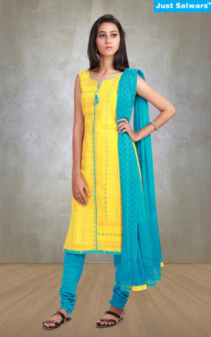 Shanaya Yellow Unstitched Suit Material