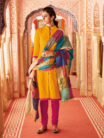 Jacquard patterned Gold Salwar suit