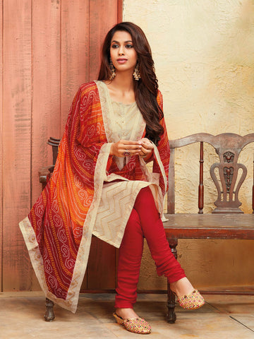 Zari embroidered Chikku dress material