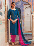 Stone work Blue unstitched dress material