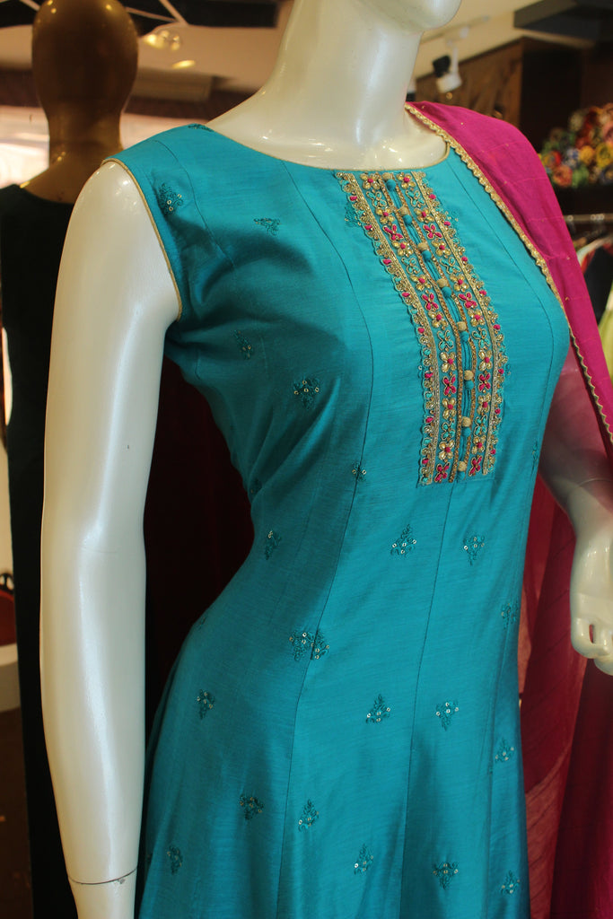 Beautiful Blue Color Silk Embroidered Anarkali Gown -Anarkali Gown- Just Salwars