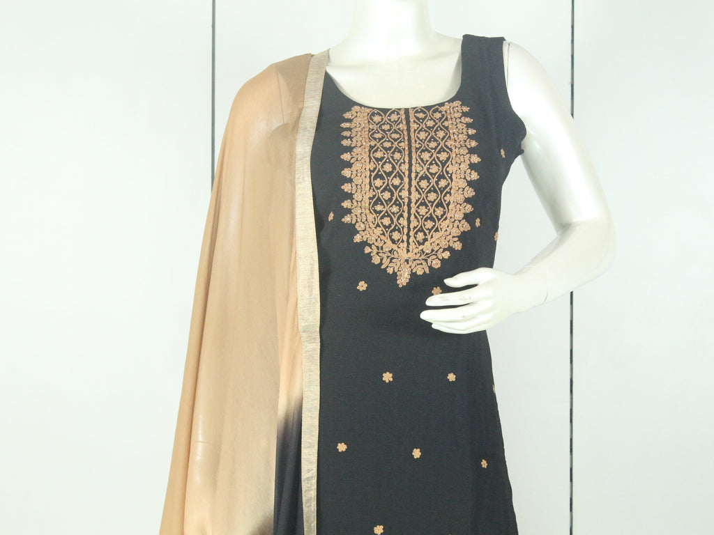 Black and Chickoo Color Embroidered Straight-Cut Salwar Suit Set -Straight Cut Suit- Just Salwars