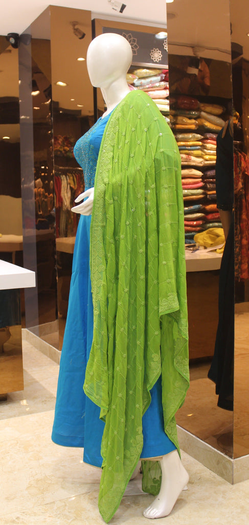 Blue Color Art Silk Embroidered Anarkali Gown -Anarkali Gown- Just Salwars