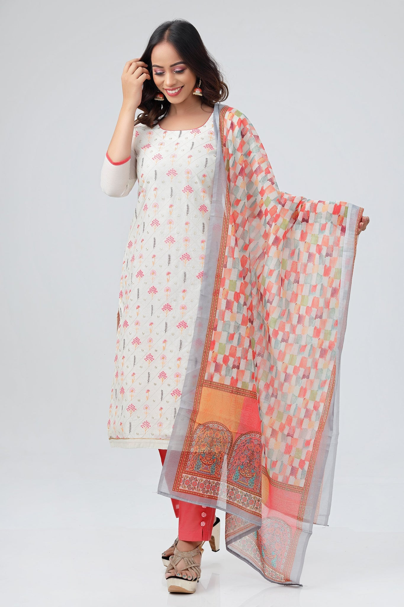 Cream and Peach Silk Cotton Salwar Suit -Salwar Suit- Just Salwars