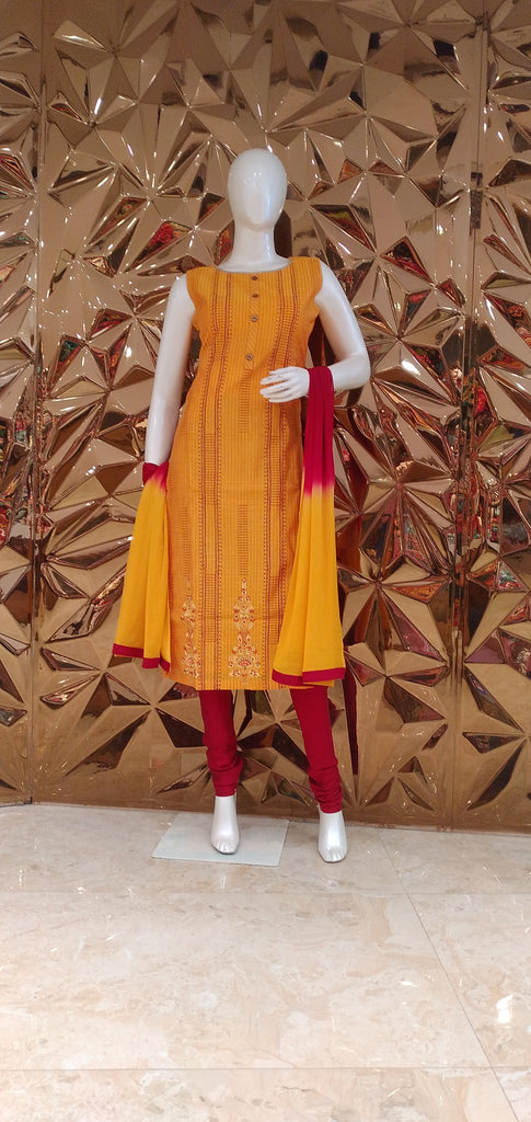 Golden Yellow and Red Embroidered Salwar Suit Set -Straight Cut Suit- Just Salwars