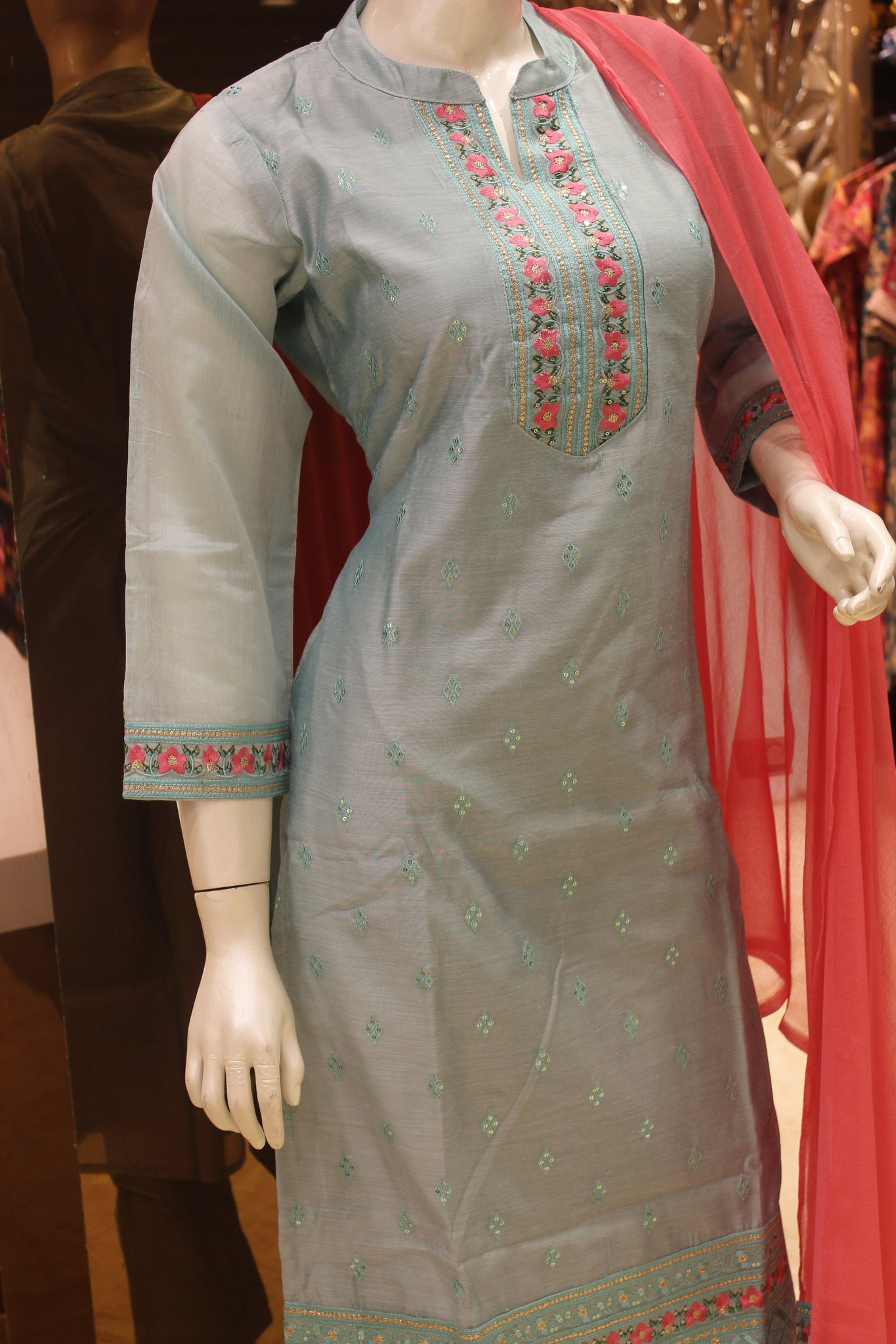 Light Blue and Pink Silk Cotton Collar Neck Straight-Cut Salwar Suit -Straight Cut Suit- Just Salwars
