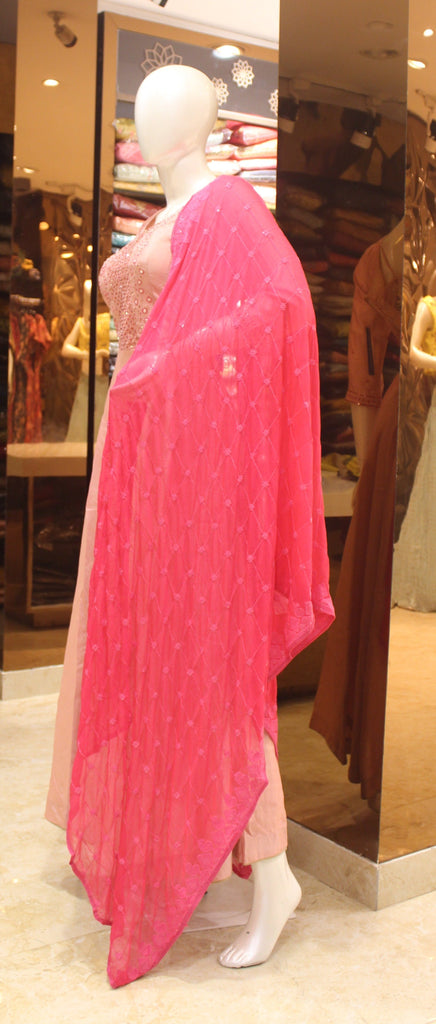 Light pink Color Art Silk Embroidered Anarkali Gown -Anarkali Gown- Just Salwars