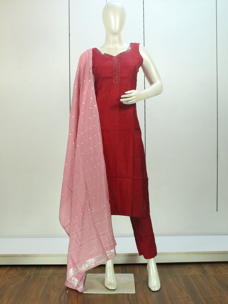 Maroon and Pink Embroidered Straight-Cut Salwar Suit Set -Straight Cut Suit- Just Salwars