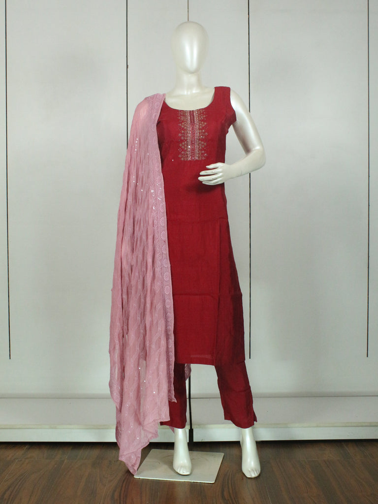 Maroon Embroidered Straight-Cut Salwar Suit Set -Straight Cut Suit- Just Salwars