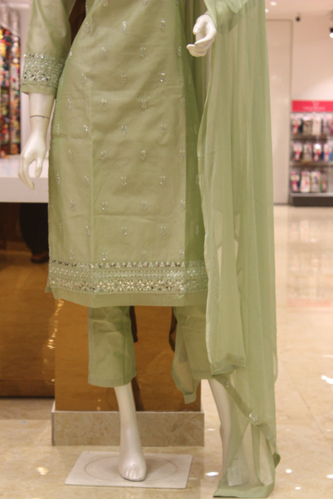 Mint Green Mirror Embroidered Silk Cotton Straight Cut Salwar Suit Set -Straight Cut Suit- Just Salwars