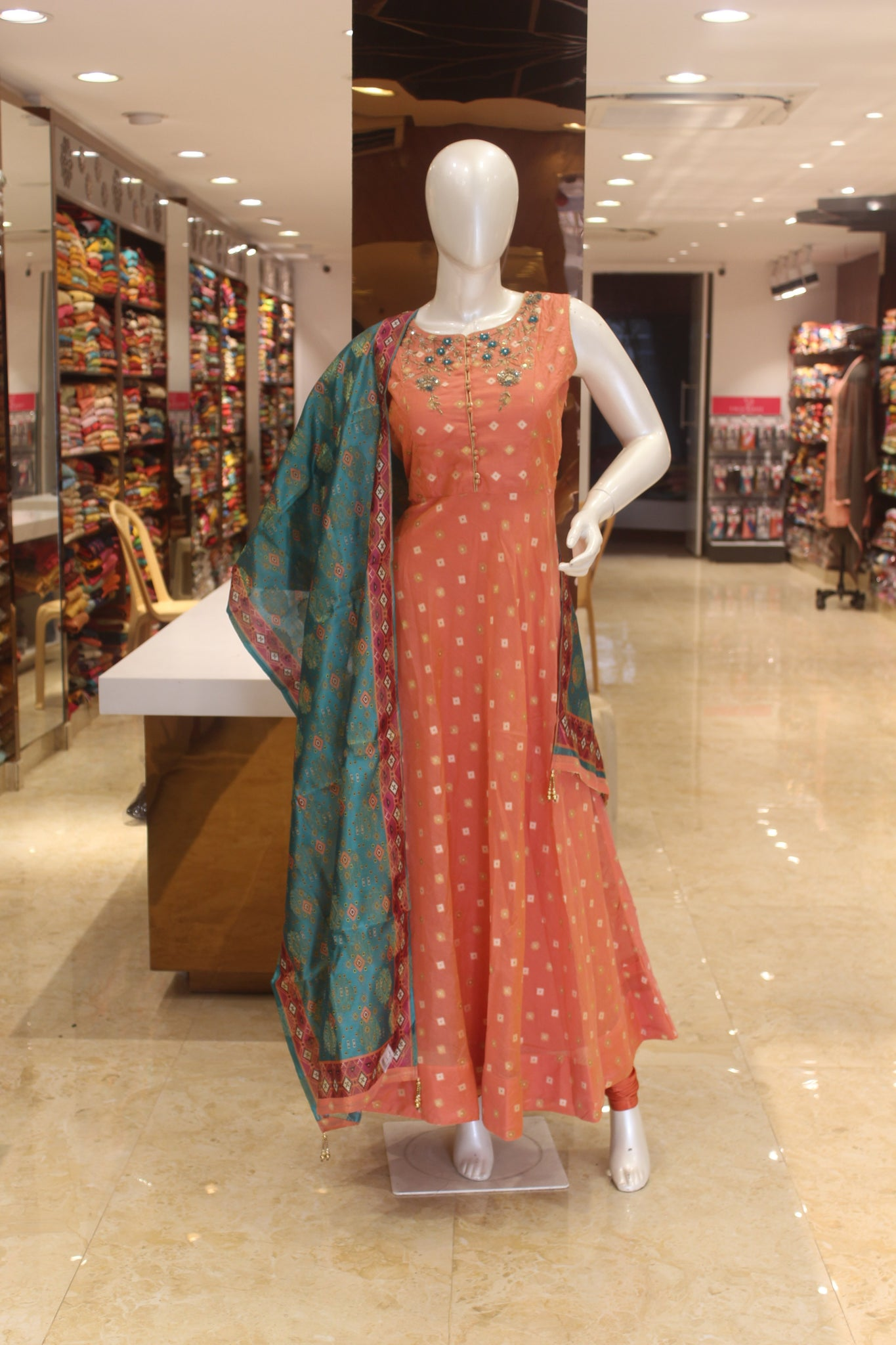 Peach Silk Embroidered Anarkali Gown -Anarkali Gown- Just Salwars