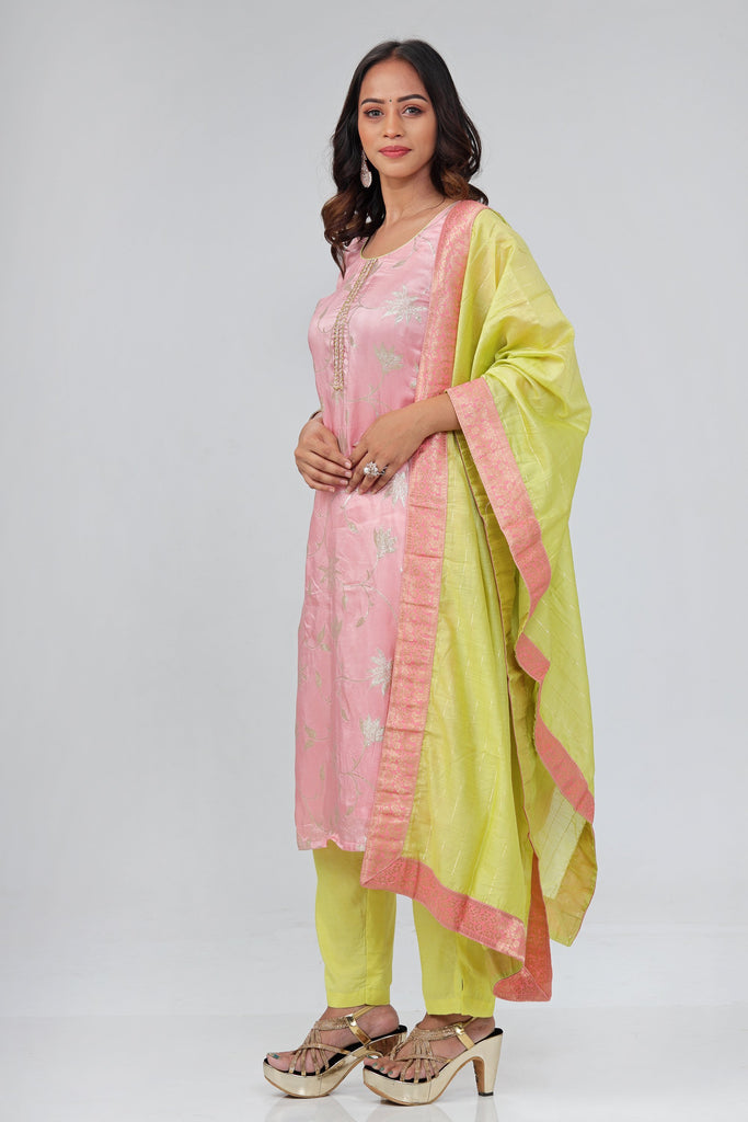 Pink and Green Muslin Salwar Suit -Salwar Suit- Just Salwars