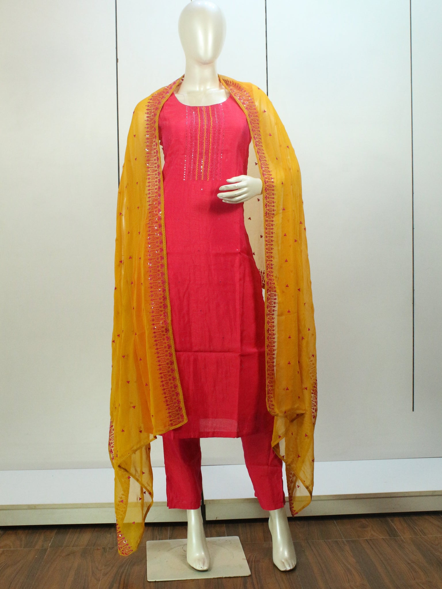 Pink and Yellow Color Embroidered Straight-Cut Salwar Suit Set -Straight Cut Suit- Just Salwars