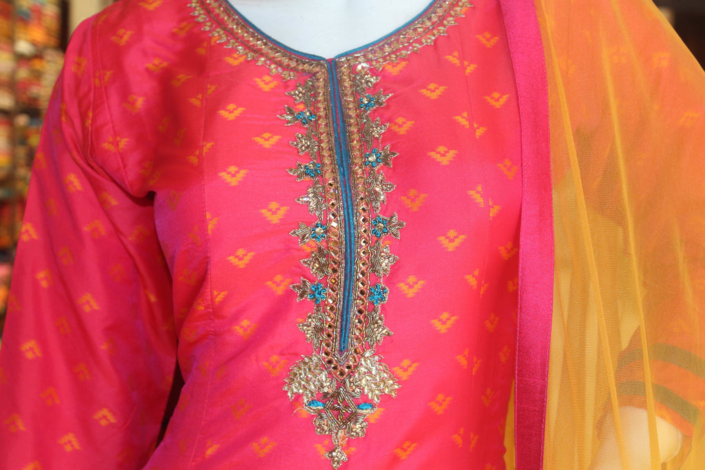 Pink Color Silk Embroidered Anarkali Gown -Anarkali Gown- Just Salwars