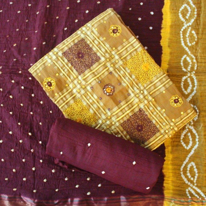 Unstitched Yellow and Brown Color Genuine Bandini Salwar Suit -Salwar Suit- Just Salwars