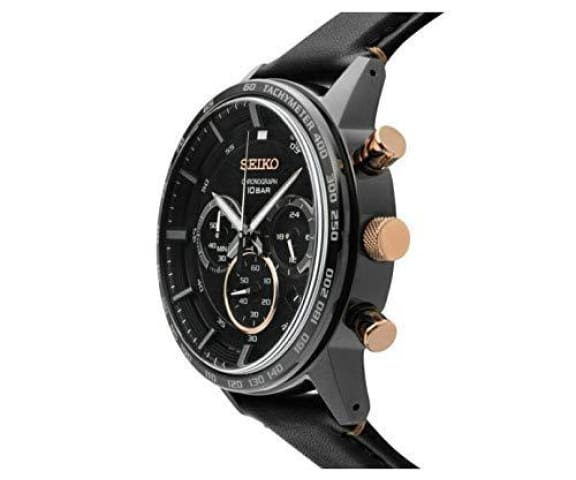 SEIKO SSB361P1 Chronograph Analog Leather Black Mens Watch